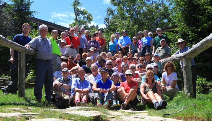 Hikers celebrating Margaret Stevenson's 101st birthday at Mt. LeConte