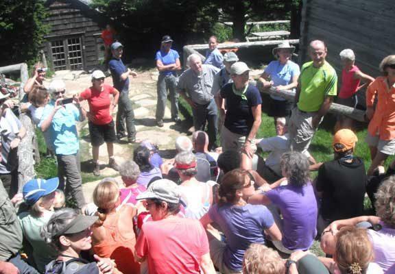 hikers number off during 101st birthday celebration for Margaret Stevenson