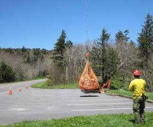 Helicopter delivers material for Chimney Tops Trail work, Phase II