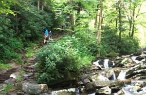 Hikers on Chimney Tops Trail, photo by Julie Dodd