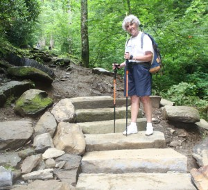 Stone stairs, Chimney Tops Trail, Phase II, Kay Moss