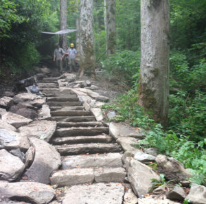 stone stairs on Chimney Tops Trail