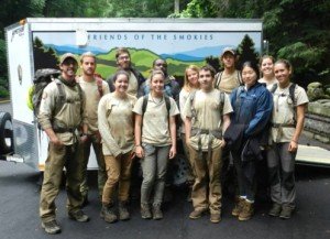 American Conservation Experience crew at Chimney Tops Trailhead