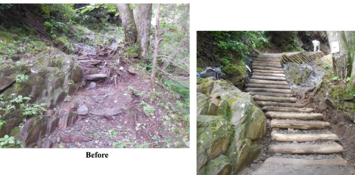 Chimney Tops Trail - before & after
