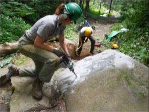 Chimney Tops Trail - preparing to split rock