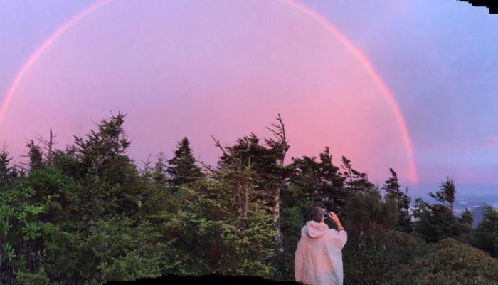 Rainbow atop Mt. Leconte