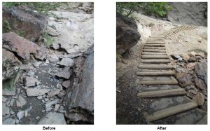 Before and after at Alum Cave Bluff