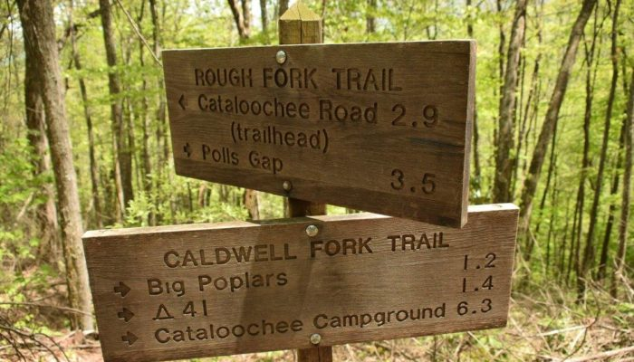 Trail sign for Caldwell Creek Trail