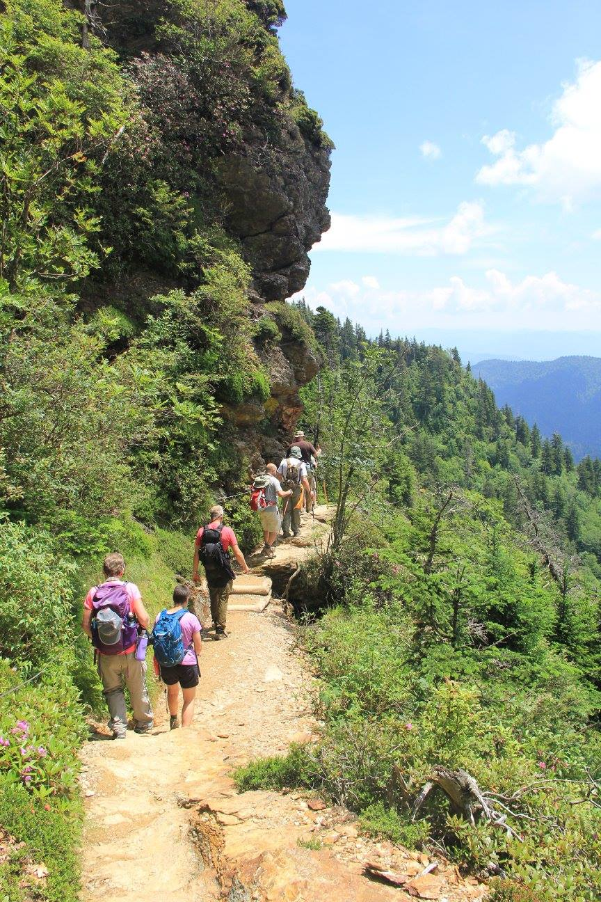 hikers on Alum Cave Trail