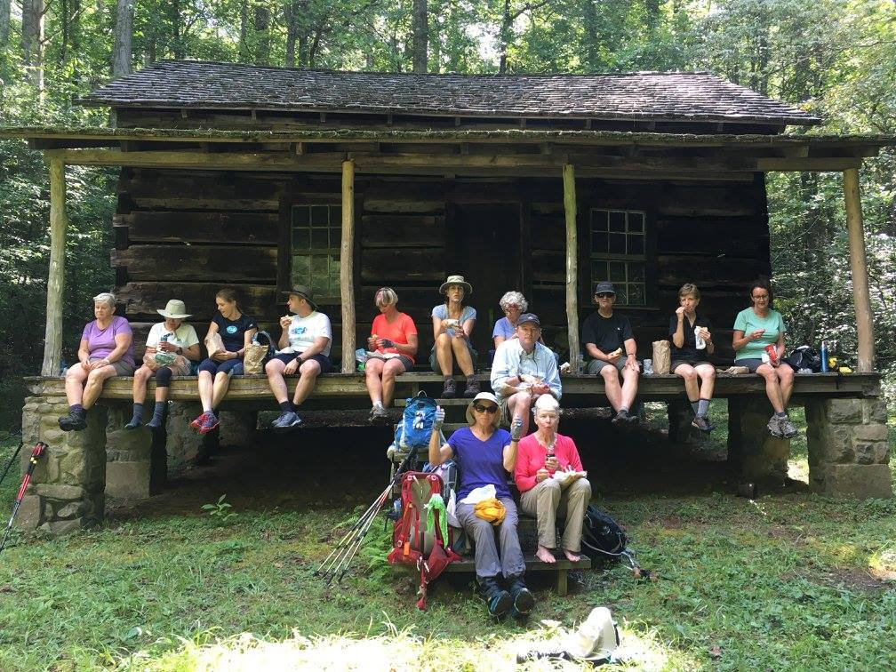 hikers at Hall Cabin