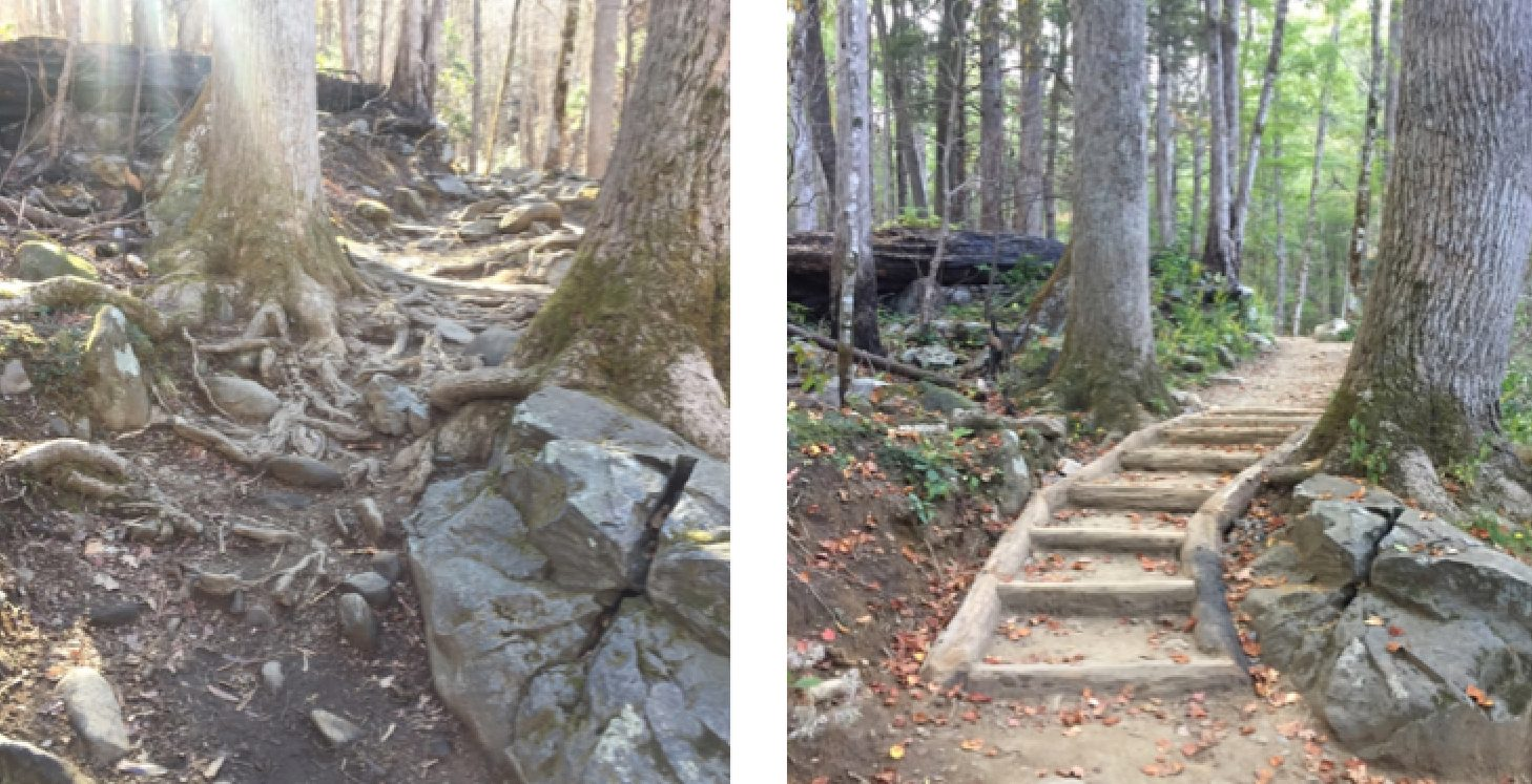 Rainbow Falls Trail before & after