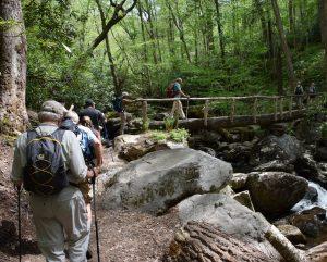 hikers on long bridge on Ramsey Cascades Trail