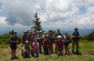 Hiking group at Andrews Bald