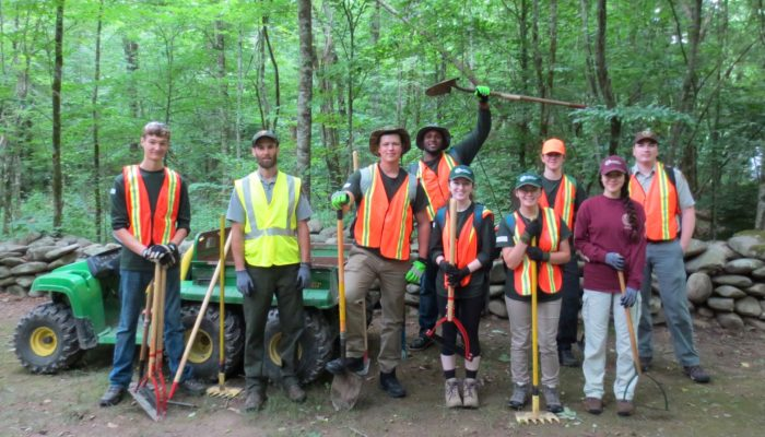GSMNP interns doing trail work 2018
