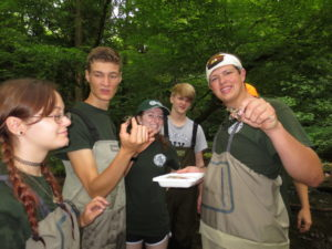 GSMNP interns collect aquatic macroinvetebrates - NPS photo