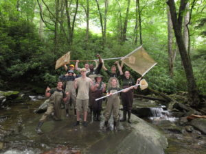 GSMNP interns collect dragonfly larvae - NPS photo