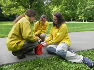 GSMNP interns check fire shelter - NPS photo
