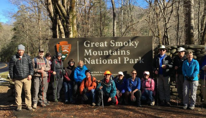 December Classic Hike 2018 hikers with GSMNP sign - photo by Linda Spangler