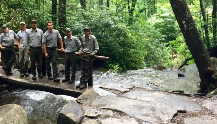 Rainbow Falls bridge, FOTS crew - NPS photo