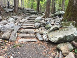 Rainbow Falls Trail stone stairs