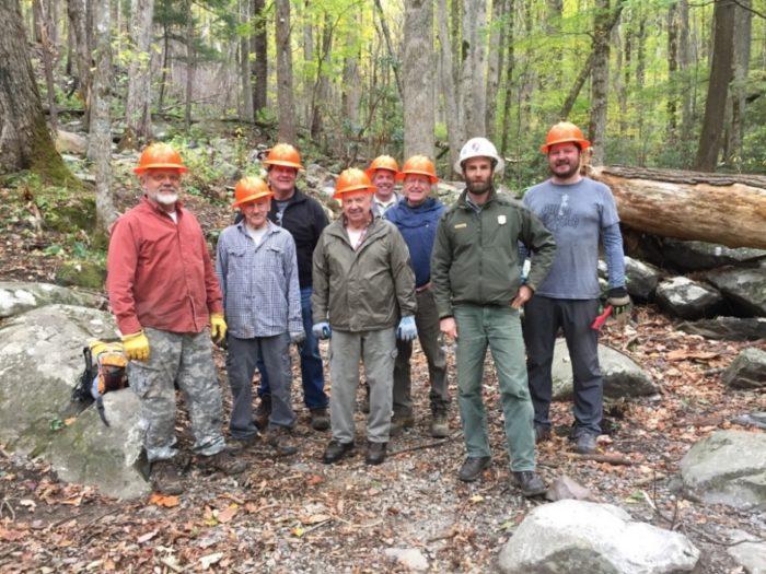 Rainbow Falls Trail restoration volunteers