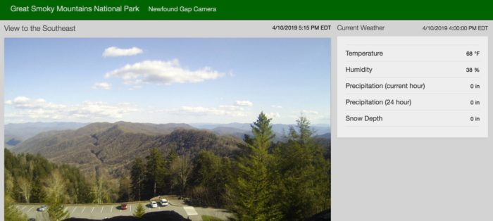 Newfound Gap webcam data display