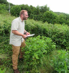 Joshua Robinson collecting data