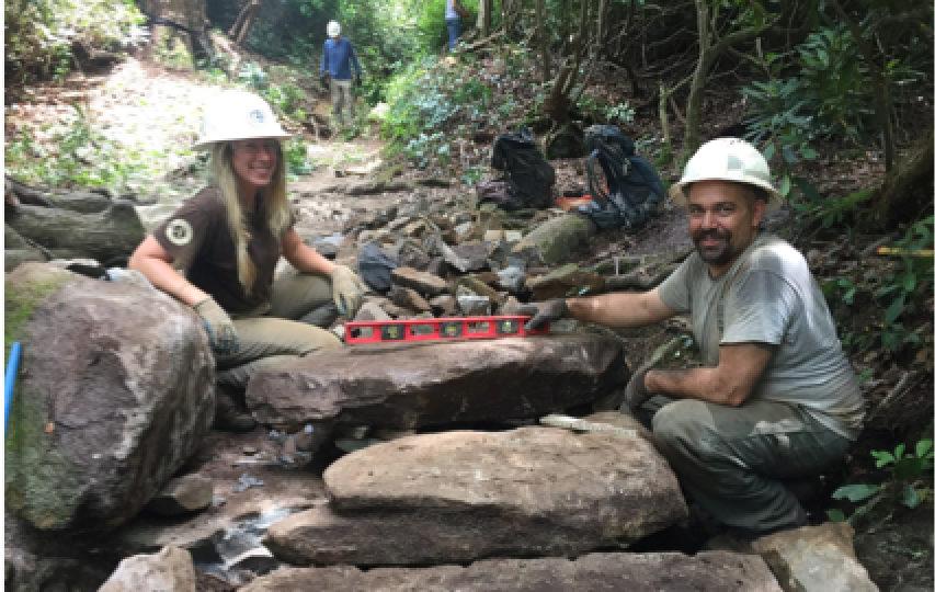 Trillium Gap Trail restoration crew - photo by Josh Shapiro
