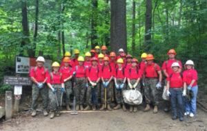 Junior Marines from Clearwater volunteer on Trillium Gap Trail