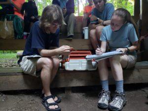 Tremont educators record data from bird banding