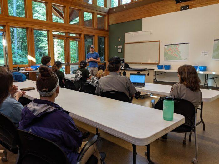 GSMNP high school interns in briefing