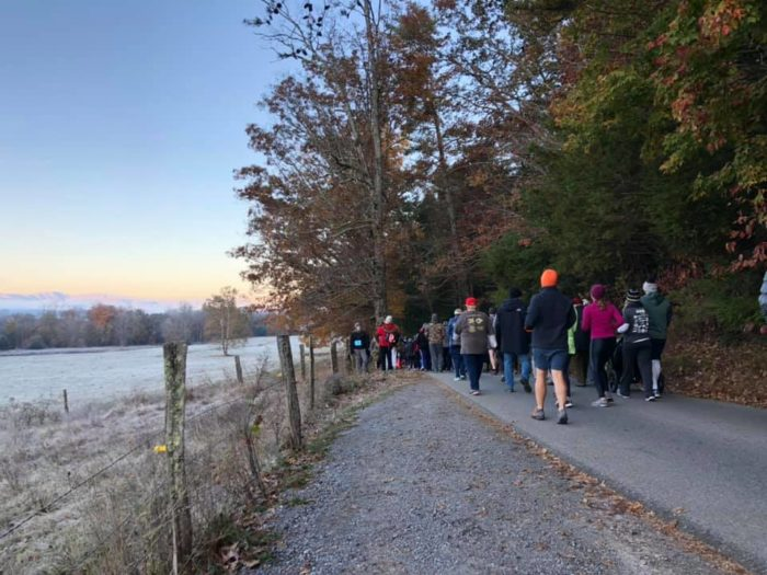 Runners in Cades Cove Loop Lope 2019