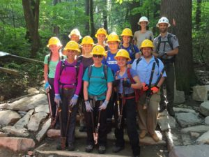 Girl Scouts working on Trillium Gap Trail 2019