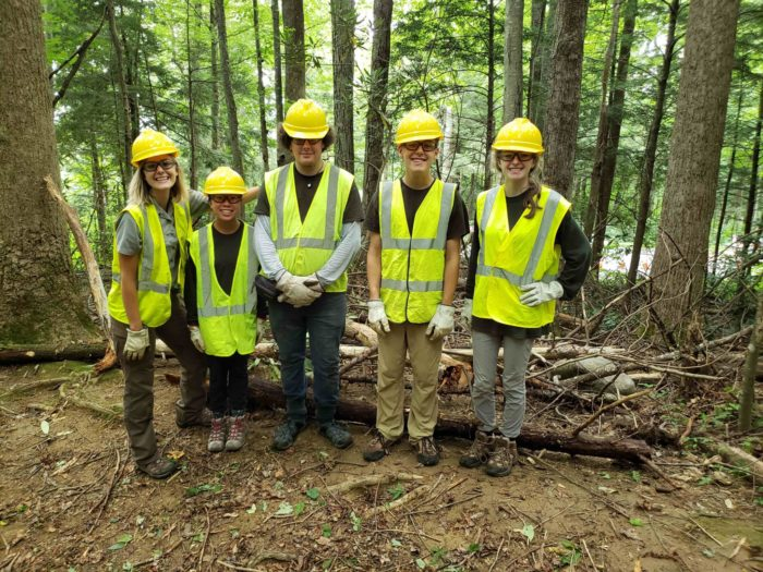 GSMNP high school interns working on Trillium Gap Trail