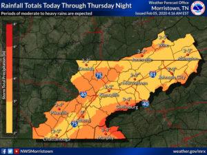 rainfall total by Feb. 7, 2020
