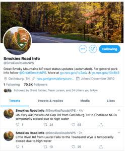 Twitter Smokies Road Info