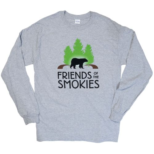 Long sleeve grey t-shirt with Friends of the Smokies logo