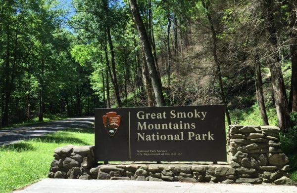 GSMNP entrance sign in summer
