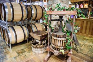 100-year-old wine press at Sugarland Cellars