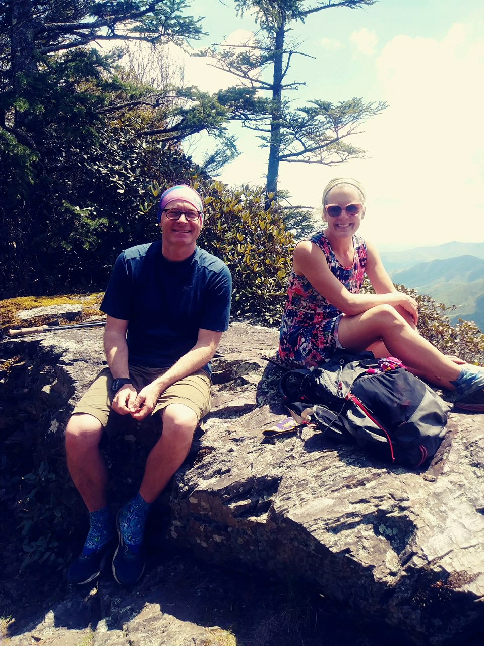 Chris Ford and Nancy East hiking in GSMNP