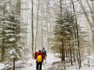 hiking Balsam Mountain Trail in snow