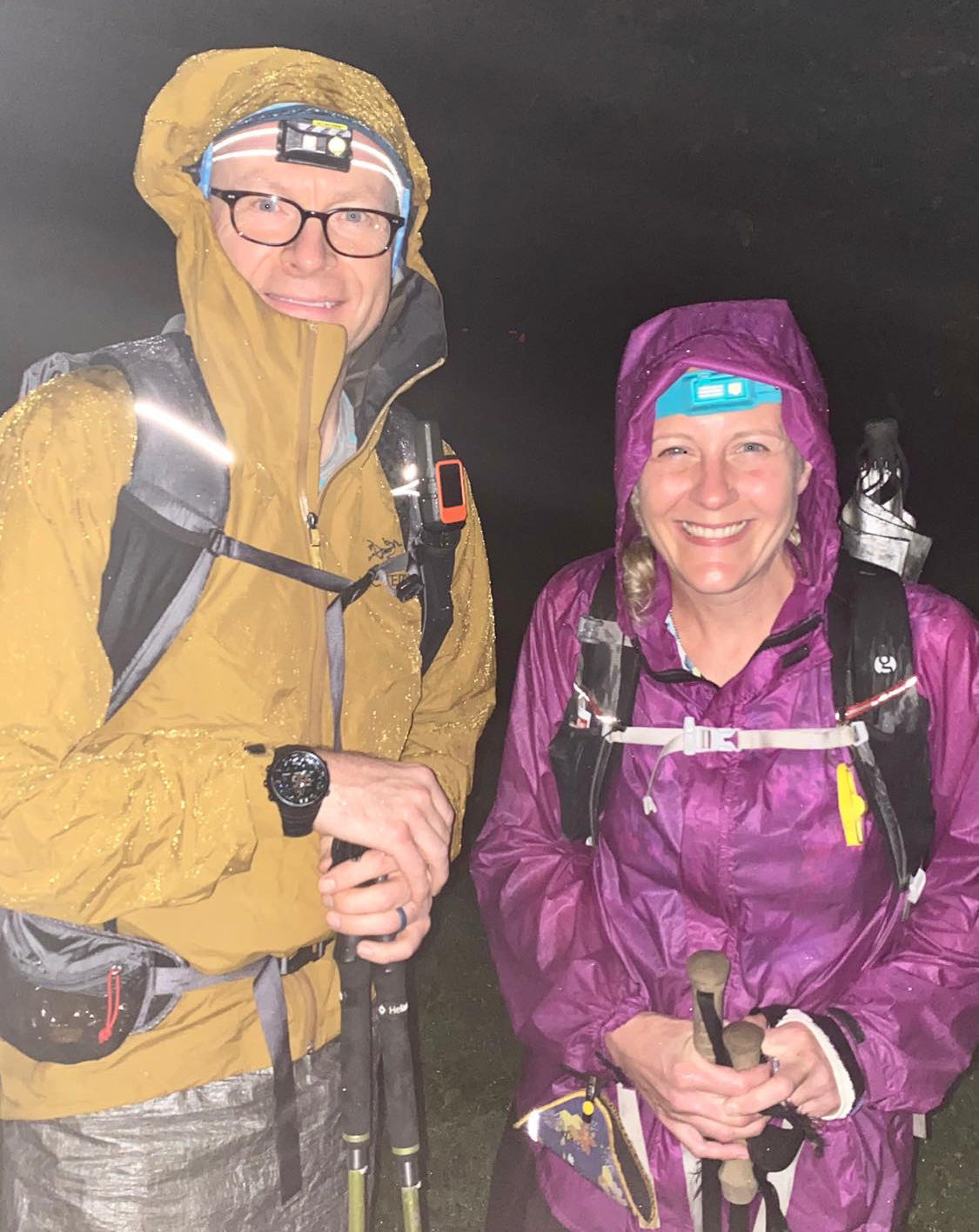 Chris Ford and Nancy East in rain gear
