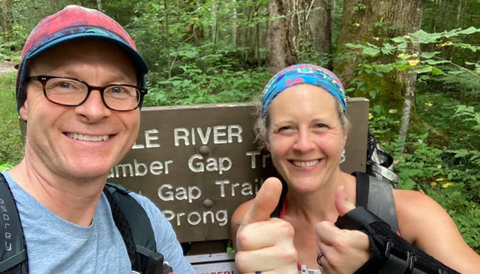 Hikers Chris Ford and Nancy East