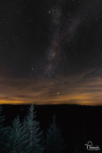 Milky Way over Smokies, taken at Clingsman Dome. Photograph by Phoenix. 20x30 on metal