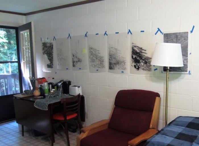 Kathy McGhee transparencies hanging in cabin