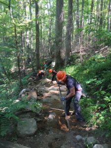 volunteers on Rainbow Falls Trail
