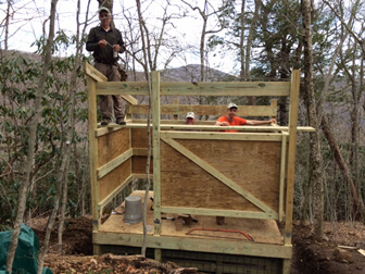 Privy construction at Spence Field Shelter