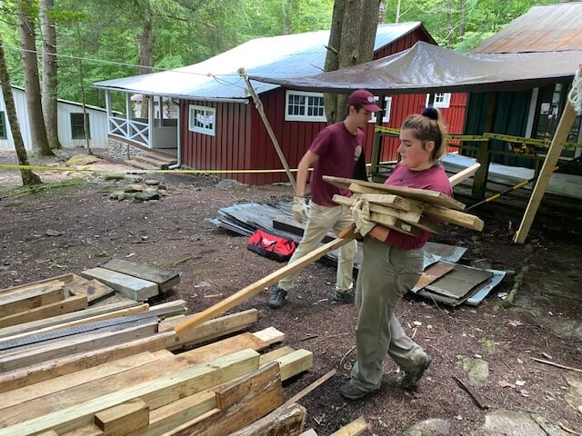 interns assisting with Elkmont restoration