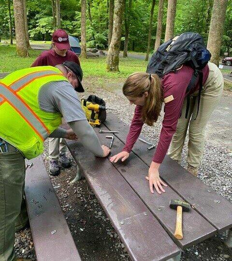 repairing damaged picnic table